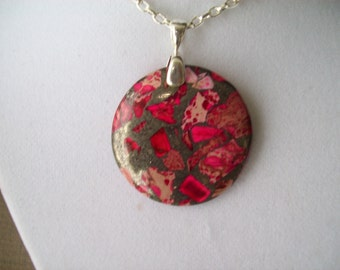 "Pink and Silver Ocean Jasper - 1-1/2"" round with chain"