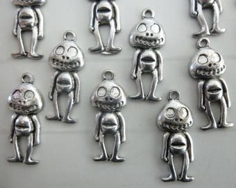 Set of 4 silver metal Mr Jack charms