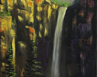 High Cliff Waterfall, Original Oil Paint on Canvas