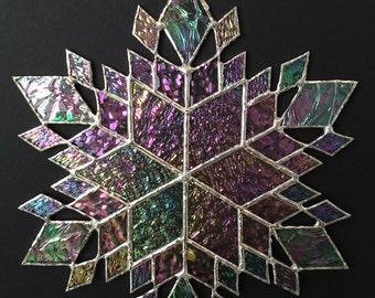 stained glass snowflake suncatcher (design 37)