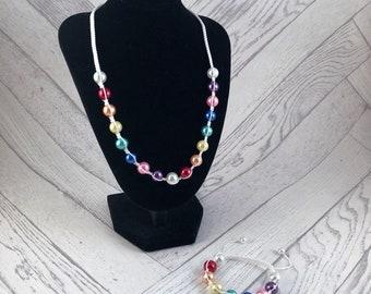 Rainbow Jewellery Set, Rainbow Necklace, Rainbow Bracelet, Bridal Jewellery Set, Macrame Jewellery Set, Bridal Jewellery, Rainbow Bride