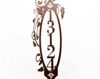 Vertical Outdoor House Number Metal Sign - 5 Digit, Copper, 10x27, Address Plaque, Outdoor House Numbers, House Number