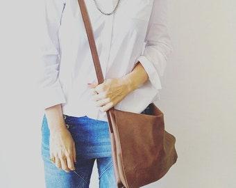 Messenger bag ,cross-body leather - BROWN