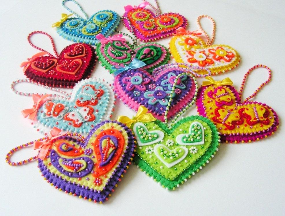 Felt Heart Ornament Heart Decoration Beaded Heart Colorful