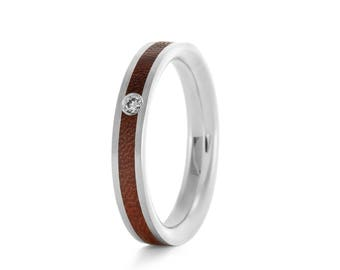 Native Courts Flat, 4mm - Wood Engagement Ring