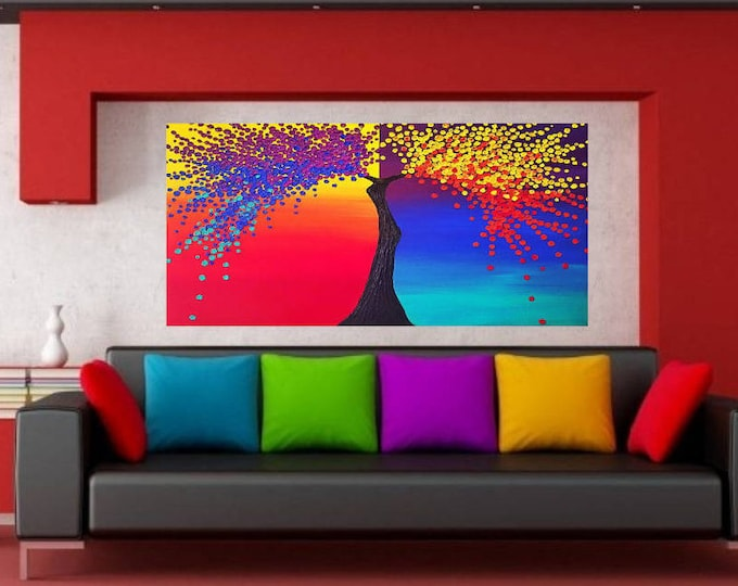 The Spectrum of Life /Rainbow Multi Color Impasto Acrylic Palette Knife Painting
