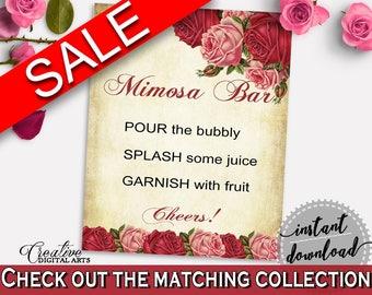 Mimosa Bar Sign Bridal Shower Mimosa Bar Sign Vintage Bridal Shower Mimosa Bar Sign Bridal Shower Vintage Mimosa Bar Sign Red Pink XBJK2
