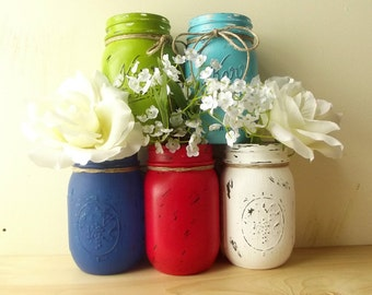 Mix and Match, Hand Painted Mason Jars - Three, Rustic - Style Pint Mason Jars - You Pick the Colors
