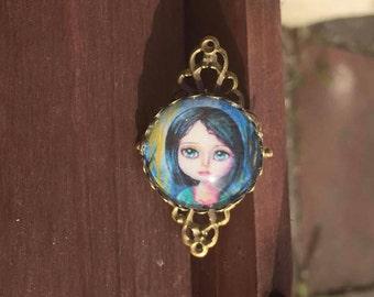 Brooch - big eyed whimsical girl fairytale statement art brooch. Wearable art. fantasy big eyes art.