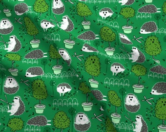 Green Hedgehog Fabric - Haircut For Hedgie By Graceful - Green Kids Hedgehog Cotton Fabric By The Yard With Spoonflower