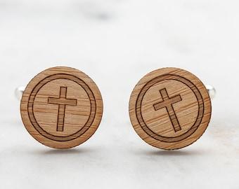 Religious Cross Cufflinks - Wood Cufflinks - Religious Jewelry for Men - Gift for Priest - Gift for Pastor - Christian Gifts for Men