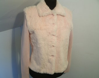 Pink Rabbit Fur Sweater Knit Sleeves Back Real Animal Fur Front And Collar Suede Leather Facing Cardigan Jacket Avalin Women's Size Medium