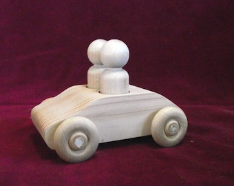 Original Unfinished Pine 2 Seater Car with 2 #5 Lg. Boy Peg Dolls