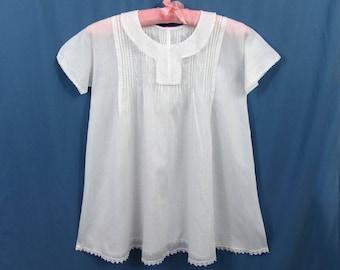 Edwardian Little Girls Dress - White Batiste Cotton - Tucks embroidery open work