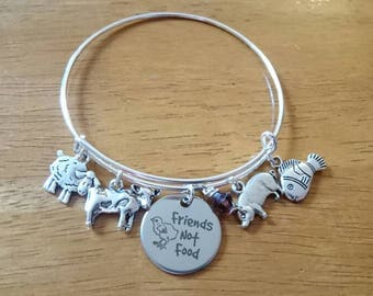 Friends not food bangle bracelet /necklace/key ring