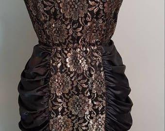 Black Dress Flapper Dress Lace Dress 1920s Dress 1930s Dress Gatsby Dress Vintage Gold Dress Size 6 Dress Size small Dress Trumpet Dress