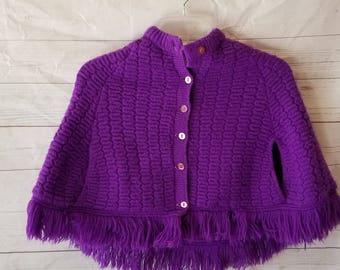 Vintage Blue Bird Children's Purple Knit Sweater Pontcho Button Up Cardigan Little Girls 60s Knits Winter Wear