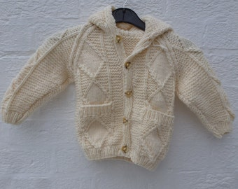 Boys aran vintage cardigan, cable knit chunky kids clothes, 1980s handmade clothing knitted toddler cardigan chunky wool.