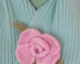 Flower Brooch Mauve Pink Handmade Felted Wool