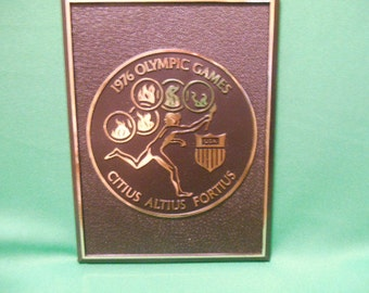 One (1), 1976 Olympic Games Plaque, Citius, Altius, Fortius.