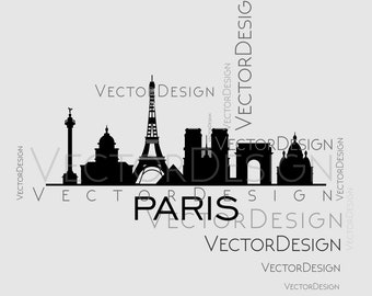 Paris Skyline Town Graphics SVG Dxf EPS Png Cdr Ai Pdf Vector Art Clipart Instant Download