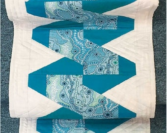 Zig Zagging Along Quilted Table Runner Pattern - Cut Loose Press CLPKBT001 - Creative Grids Scrap Crazy 6 Templates CGRMT6