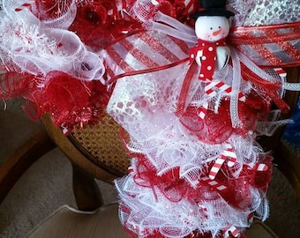 Deco Mesh Wreath Candy Cane Snowman