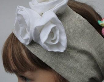Linen organic Headscarf Headband,  Hair Band Headscarves with  white roses Head Scarf Head Wrap  Size S, M, L, XL