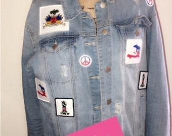 I Love Haiti Patch Denim Jacket