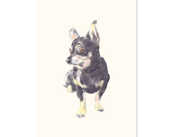 Little Dog Waiting, art print 5x7 Animal Art Chihuahua Dog, illustration, home decor, Nursery, wall art, postcard