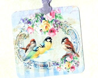 Gift Tags, Bird Tags, Bird & Roses, Bird Lover, Party Favors