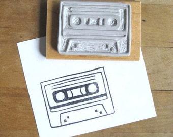Cassette Tape - Hand Carved Stamp