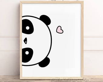 Sideways Panda Printable, Cute Panda Print, Kawaii Panda Printable, Nursery Wall Decor, Teen Wall Art, Home Wall Printable, Wall Art Print