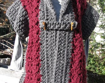 Coat sleeves for women's knitted hand crochet thick wool Burgundy and gray