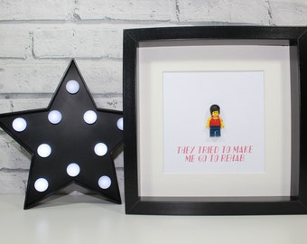 AMY WINEHOUSE - Framed custom Lego minifigure - Musician - Awesome - Unique - Quirky art work