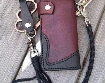 Leather Biker Wallet: Chocolate and Black Refined.