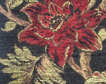 Burgundy Floral - Upholstery Fabric by The Yard