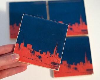 New York Skyline Coaster (Blue and Orange Stone Coaster) NYC Gift