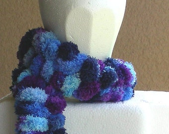 Pom pom scarf neckwarmer long scarf in variegated purple blue navy hand knit over 6 feet in length