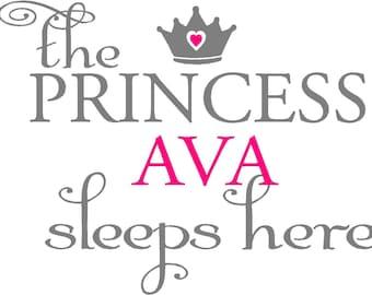 The princess sleeps here with crown and custom name...