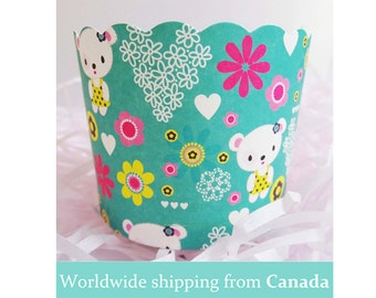 10 Teal Bear Love Baking Cup for Cupcakes / Green Baking Cups / Cupcake Liners