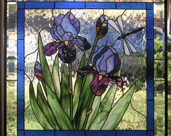 "Stained Glass Window Panel--Purple Iris with Dragonfly-- 28 5/8"" x  28 5/8"""