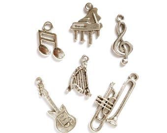 6 Assorted Antique Silver Instrument Charms - 30-21-2