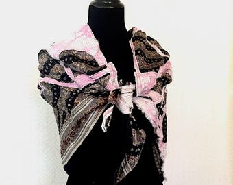 Floral Geometry Shawl - OOAK Wearable Art, Ancestry Cloth Accessories, black and pink, silk shawl,  contemporary art clothing, abstract art