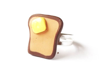 Toast Ring Miniature Food ( polymer clay breakfast silver adjustable ring handmade funny jewelry gift for girl cute sweet )