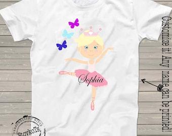 Ballerina shirts for girls dance team t-shirt personalized ballet theme birthday tutu girl