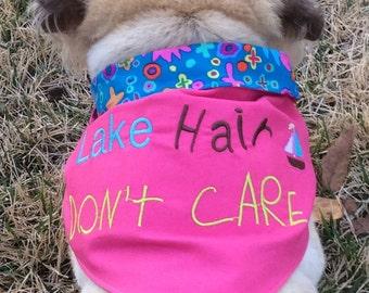 Lake Hair Don't Care reversible dog scarf/bandana-fun dog bandana-lake dog gift-lake gift-water dog gift