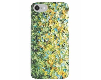 Abstract Art Cell Phone Case for iPhone 8, iPhone 7 Case, iPhone X, iPhone 7 8 Plus Case, Green Yellow Expressionist Samsung Galaxy S7 S8