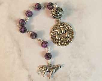 Wolf Prayer Beads | Spirit Animal Wolf | Wiccan Prayer Beads | Pagan Prayer Beads | Meditation Prayer Beads | Self Affirmation Beads | Gift