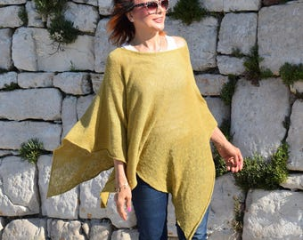 Linen Tunic Top . Linen  Knit Poncho Cape . Lightweight Linen Knit  Poncho.  Plus size Linen Tunic wrap. Cruise and Resort wear poncho